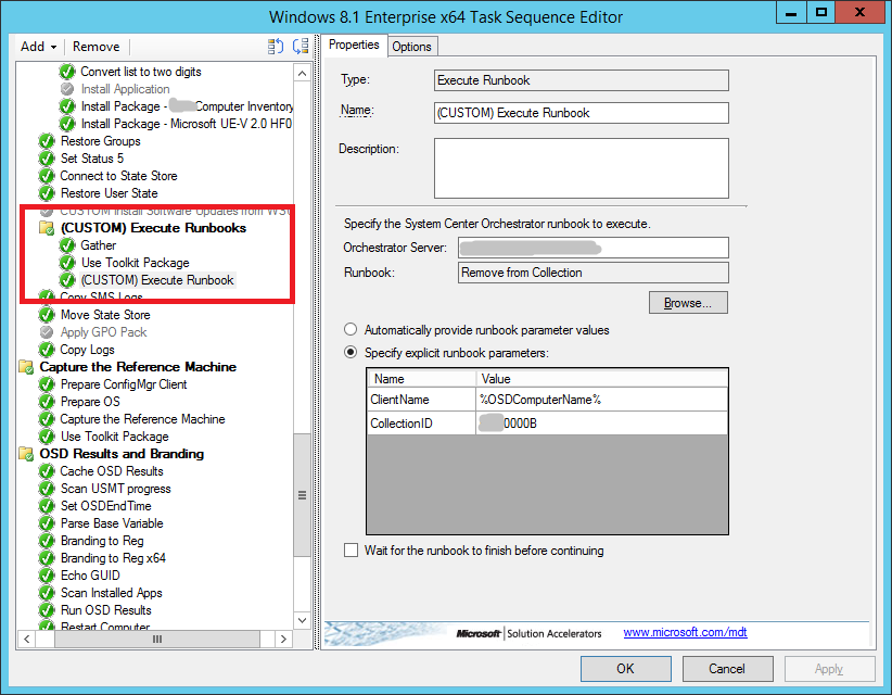 Remove client from collection in OSD task sequence using