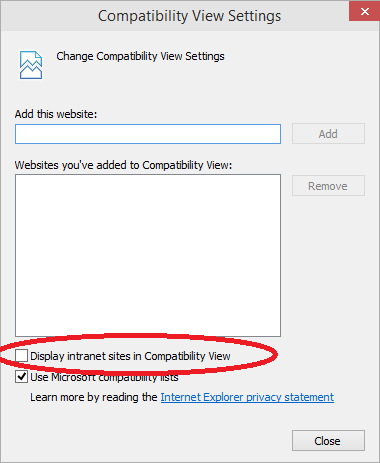 The Display intranet sites in Compatibility View should be turned off / unchecked!