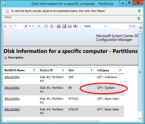 In Configuration Manager reports you can determine if running UEFI machines by looking at the inventory of partitions. GPT System disk means that the machine is a UEFI machine.